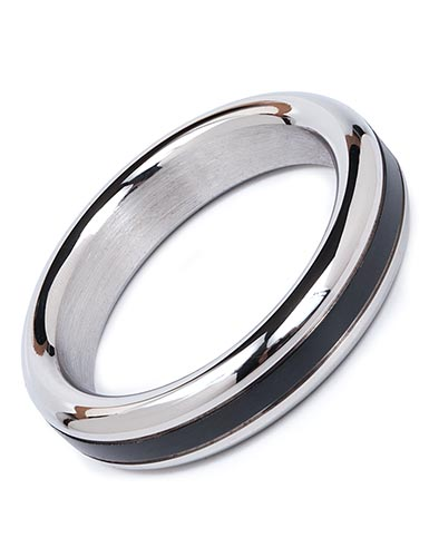 """Stainless Steel Cock Ring w/ Black Band, 1 7/8"""""""