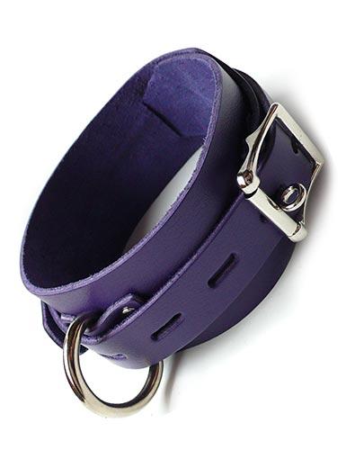 Purple Leather Collar w/ Locking Buckle