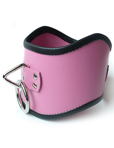 Tall Locking Curved Posture Collar Pink w/ Black trim