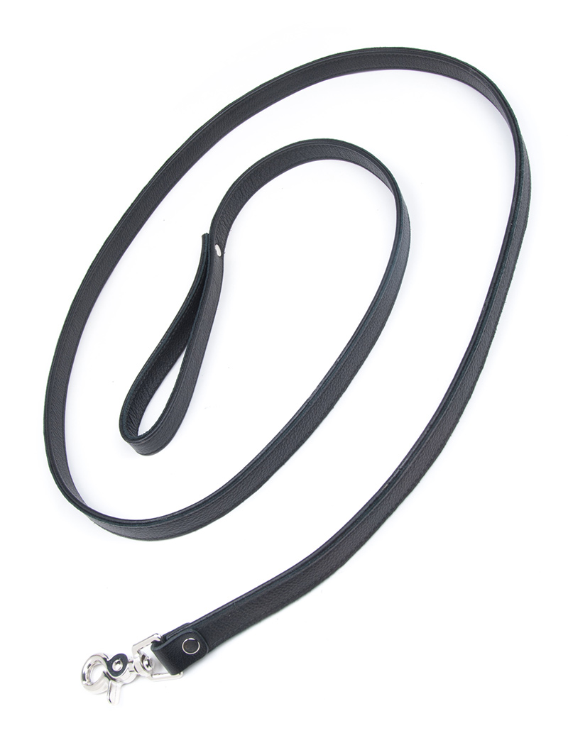 Leather Leash, Black, 6'