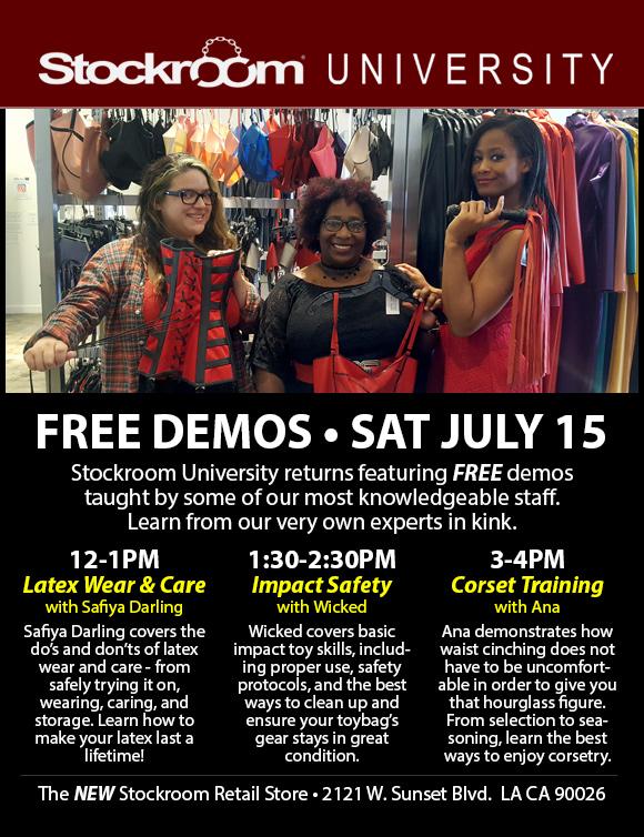 Stockroom University: Latex, Toys & Corset Training, July 15th, 12-4 pm