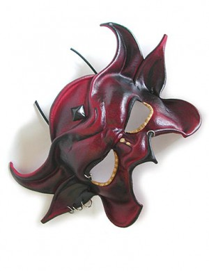 Minos Devil Mask - Blackened Red Mask with Rings
