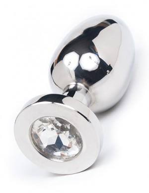 """Jeweled Butt Plug, Large 4"""",Crystal"""