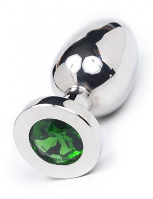 "Jeweled Butt Plug, Large 4"", Green"