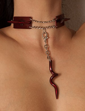 Sex and Metal Crescent Choker, Red