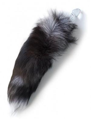 Silver Fox Tail w/ Glass Butt Plug