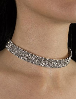4 Row Adjustable Rhinestone Choker