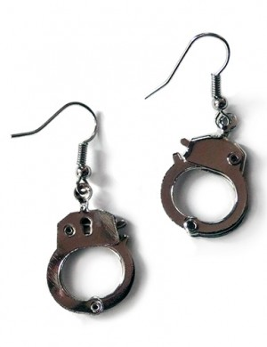 Handcuff Earrings, Silver