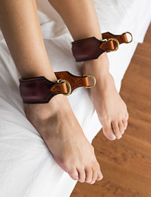 Burgundy/Saddle Tan Ankle Cuffs by Paraphilia