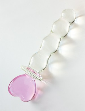 Pink Heart Glass Dildo