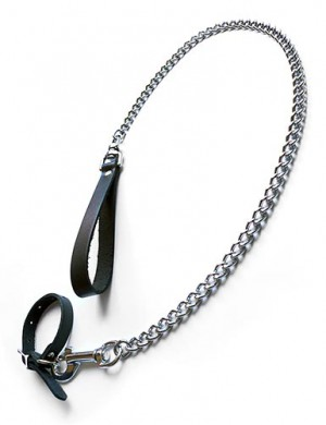 Buckling Cock Ring/Chain Leash Set