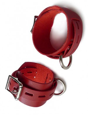 Locking/Buckling Wrist Cuffs, Red