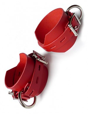 "Locking/Buckling Ankle Cuffs, Red, 2.25"" wide"