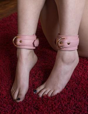 Premium Garment Leather Ankle Cuff w/ 18k Gold Hardware