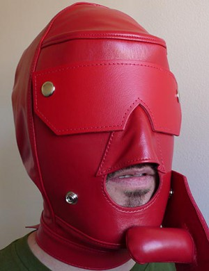 Red Leather Slave Hood with Snap-on Gag and Blindfold