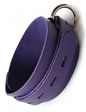 Purple Leather Collar w/ Locking Buckle