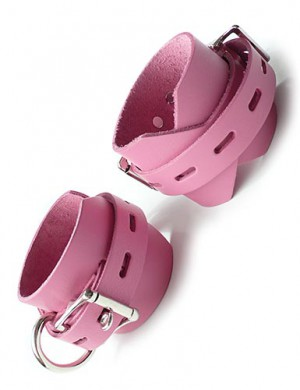 "Locking/Buckling Ankle Cuffs, Pink, 2.25"" wide"