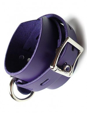 Purple Leather Ankle Cuffs w/ Locking Buckle