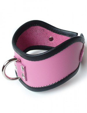 Short Locking Curved Posture Collar in Pink with Black Trim