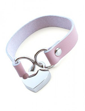 Stupid Cute Heart Lock Leather Choker