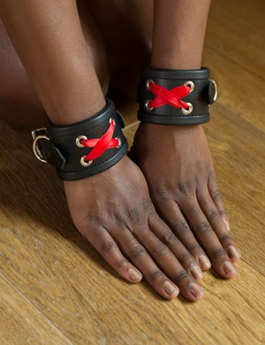 Red Laced Leather Wrist Cuffs