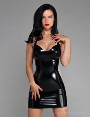 image Natasha black latex sleeved catsuit