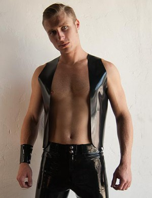 Men's Latex Bar Vest, Black