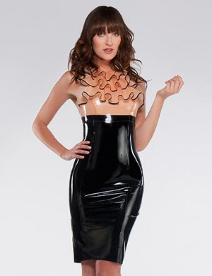 Syren Latex Empire Waist Pencil Skirt