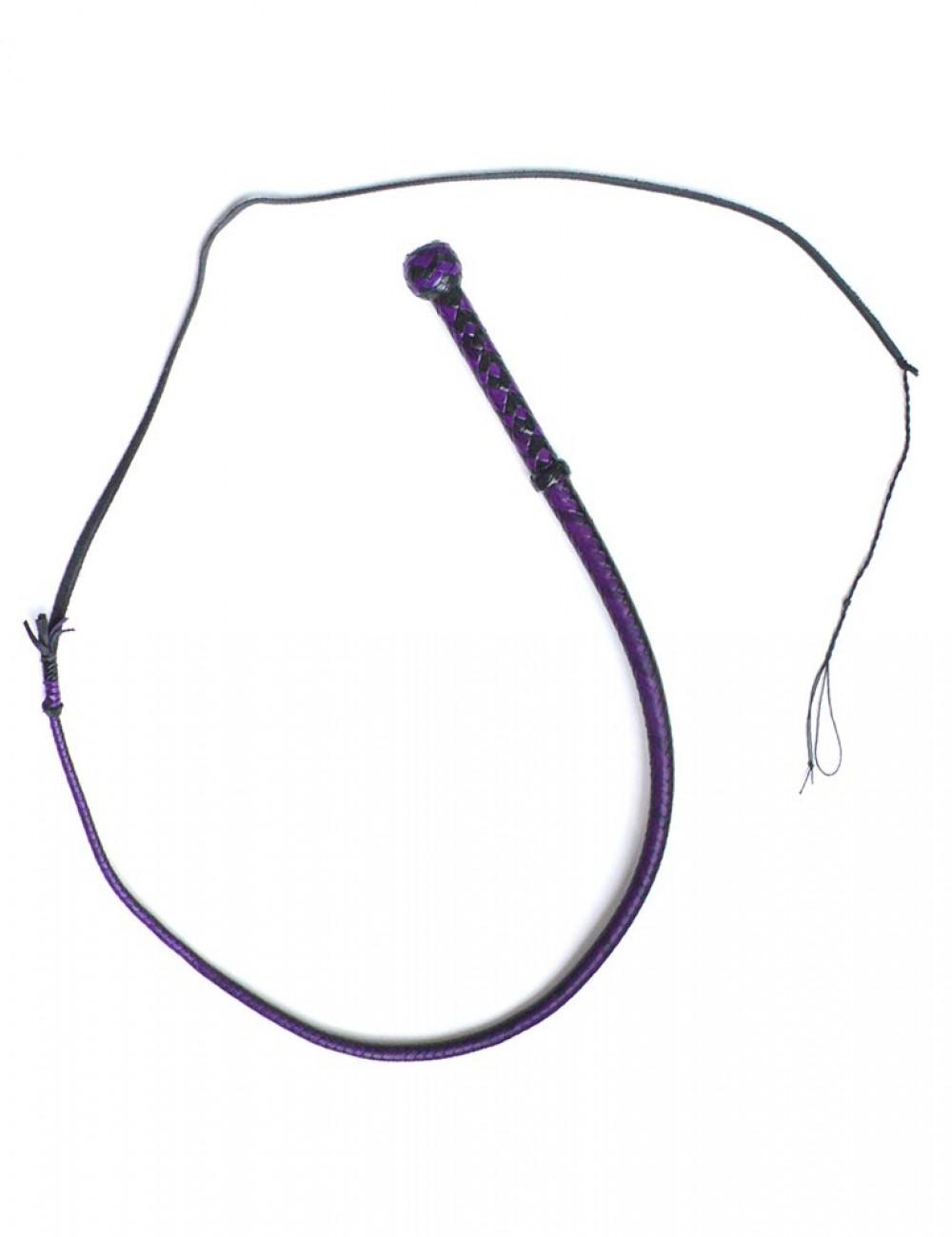 3' Mini Bull Whip, 12 plait, Black/Purple