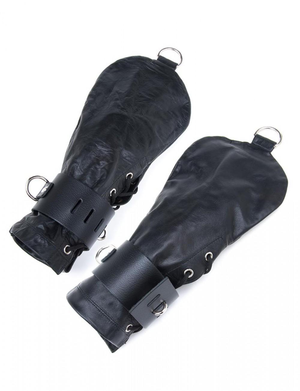 Bondage Mittens, Black Leather