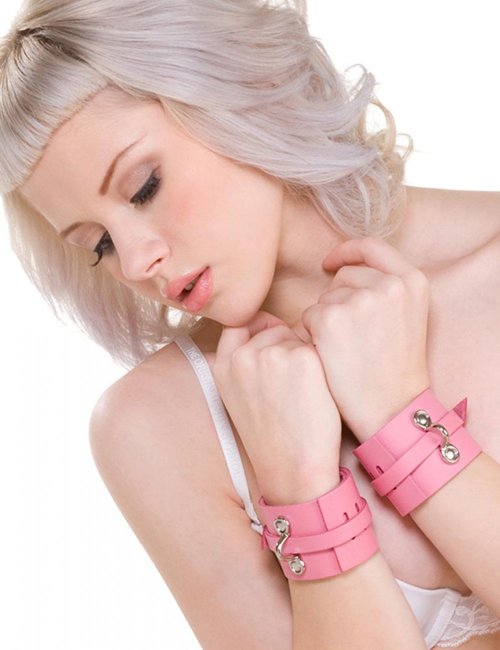KinkLab Pink Bound Leather Wrist Cuffs