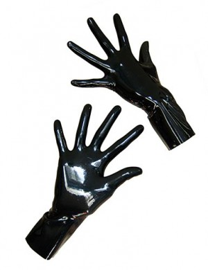 Wrist Length Latex Gloves, Black