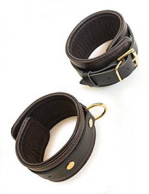 Brown Leather Ankle Restraints with Gold Accent Hardware