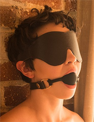 Brown Leather Blindfold Classic Cut