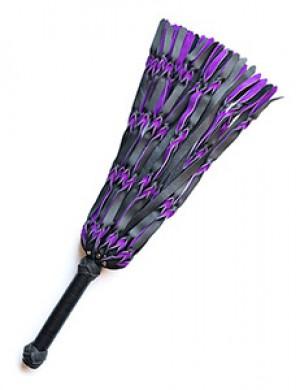 Braided Leather Flogger, Purple & Black