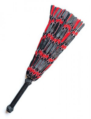 Braided Leather Flogger, Red & Black