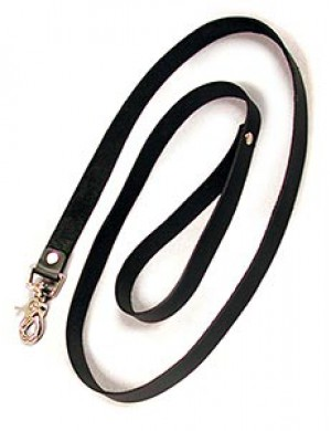 Leather Leash, Black, 4'