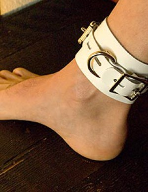 "Locking/Buckling Ankle Cuffs, White, 2.25"" wide"