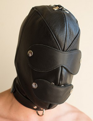 Premium Leather Hood w/Gag & Blindfold