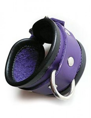 Locking Purple Wrist Cuffs with Black Trim