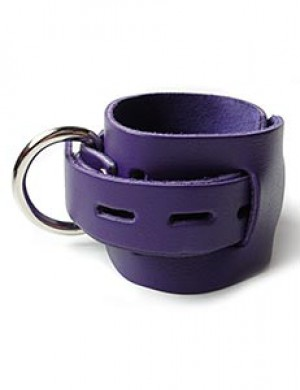 Purple Leather Wrist Cuffs w/ Locking Buckle
