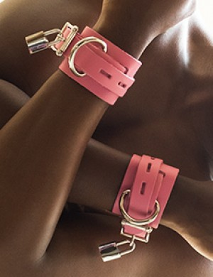 Pink Leather Wrist Cuffs w/ Locking Buckle