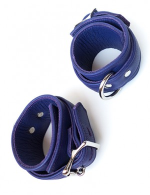 Premium Garment Leather Ankle Cuffs, Purple
