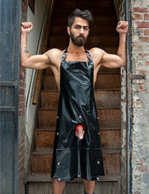 Rubber Apron with Cockhole and Pocket