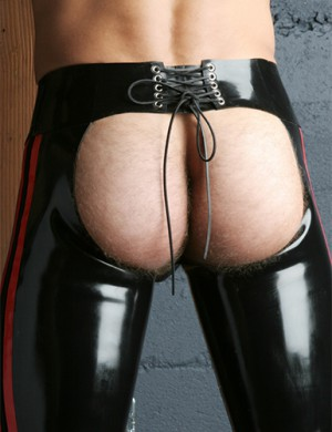 Latex Chaps with Side Stripes