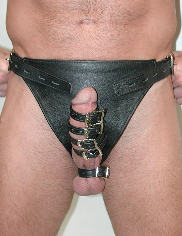 Leather cock harness with pins