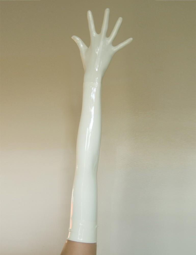 Latex Shoulder Length Opera Gloves, White