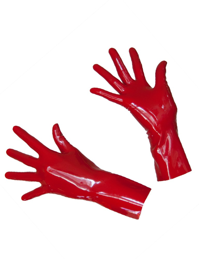 Wrist Length Latex Gloves, Red