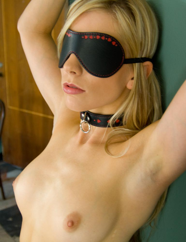 Leather Blindfold with Heart Inlay