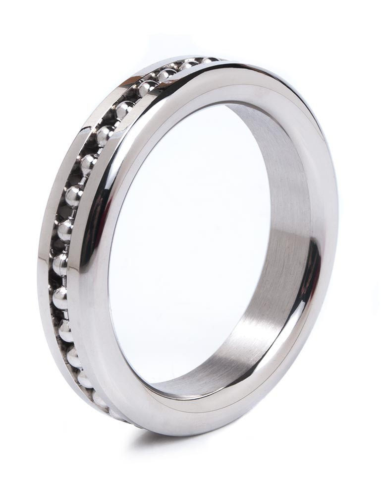 Stainless Steel Cock Ring with Ball Chain Design
